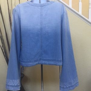 Anthropologie Tops - Anthropologie Cloth & Stone Chambray Wrap Top